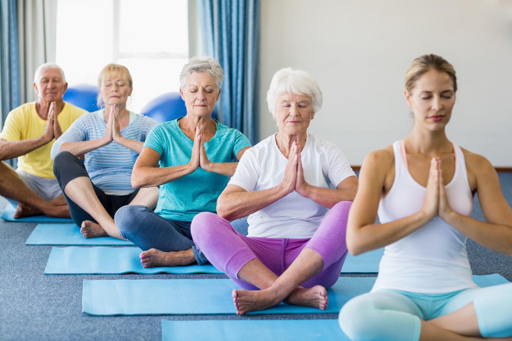 Senior doing yoga