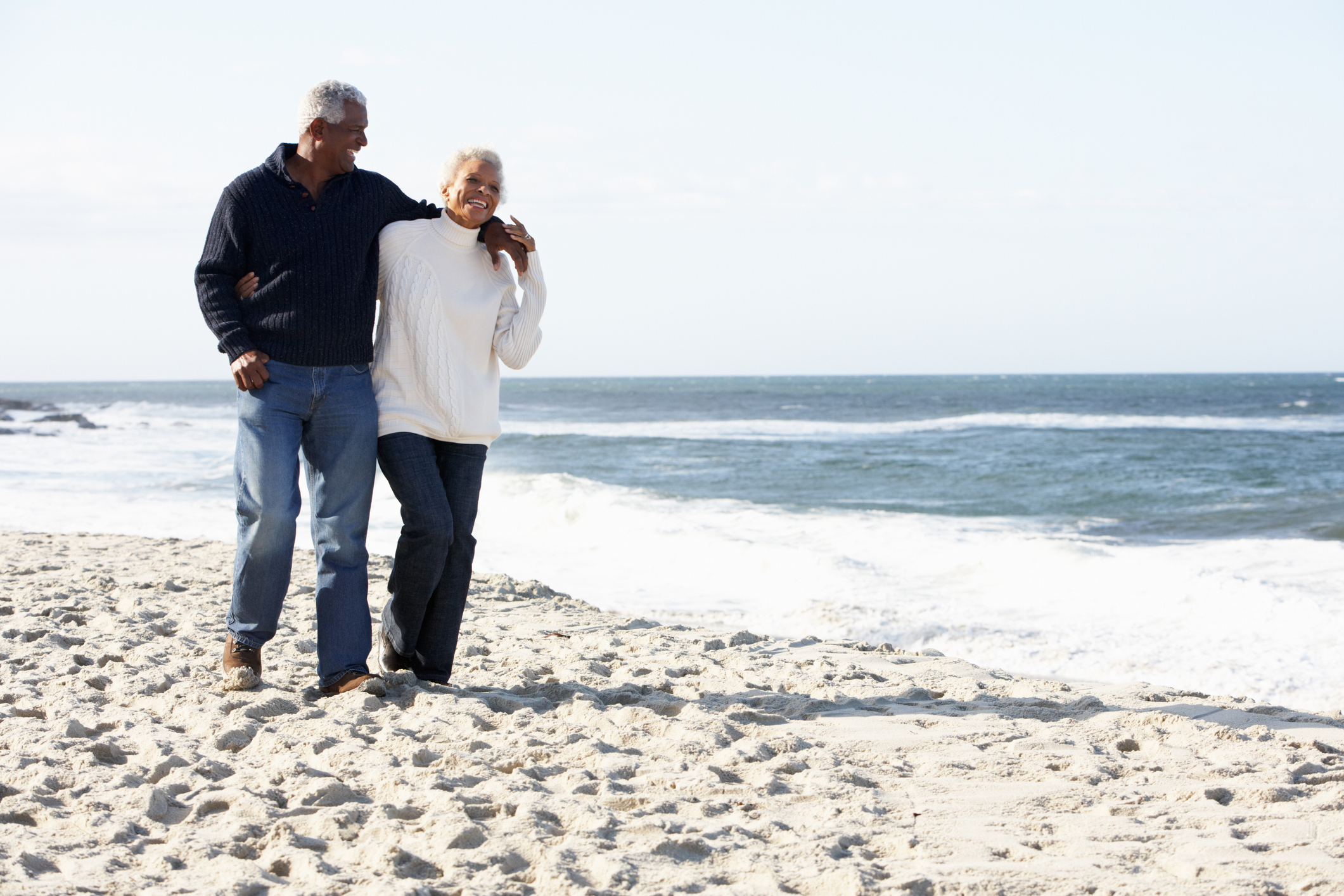 Happy retired couple on the shores of California