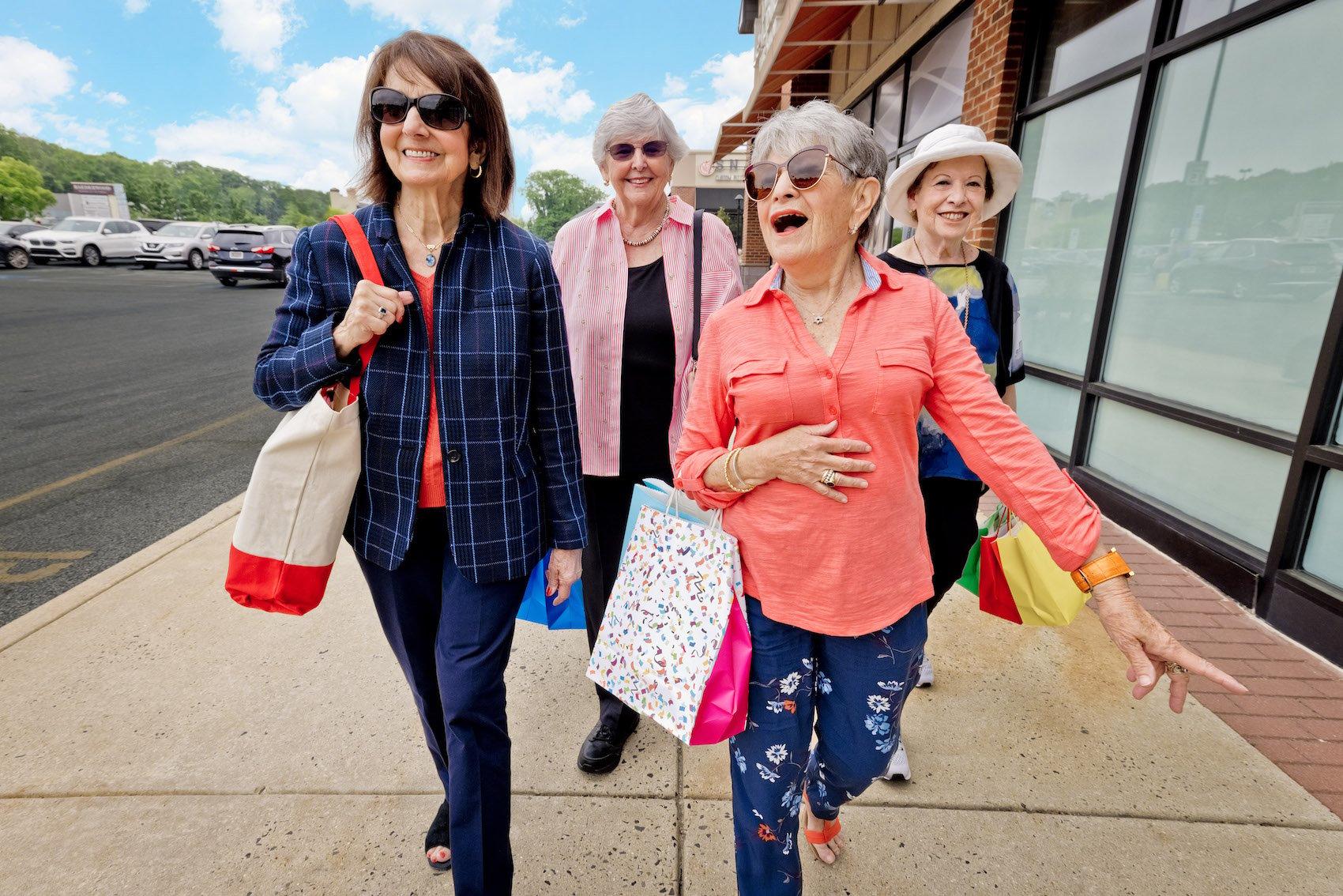 four women shopping