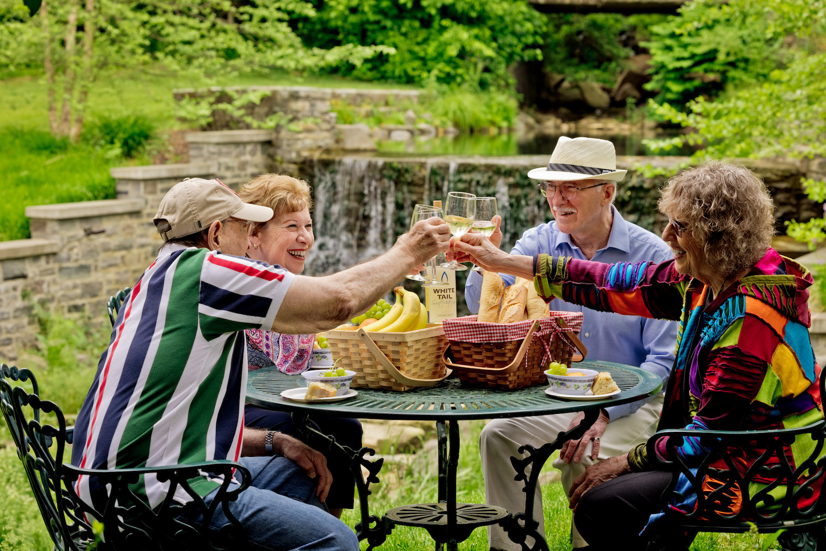 people celebrating at a senior living community