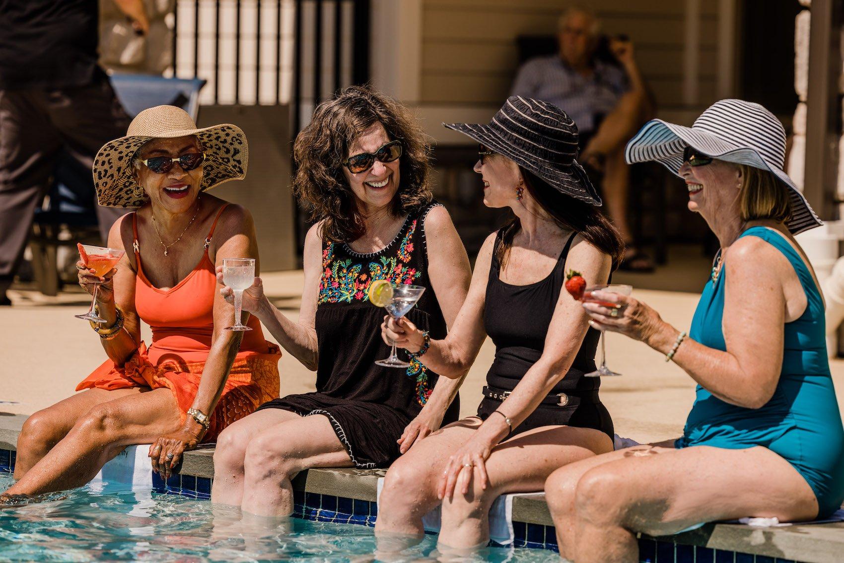 women at pool