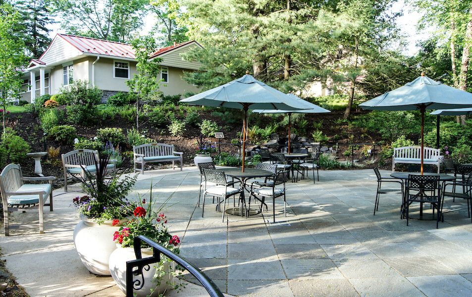 the mansion at rosemont outside dining patio