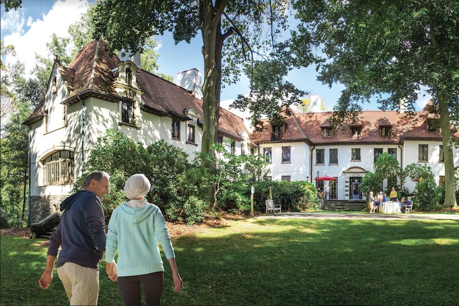 Couple walking at The Mansion at Rosemont
