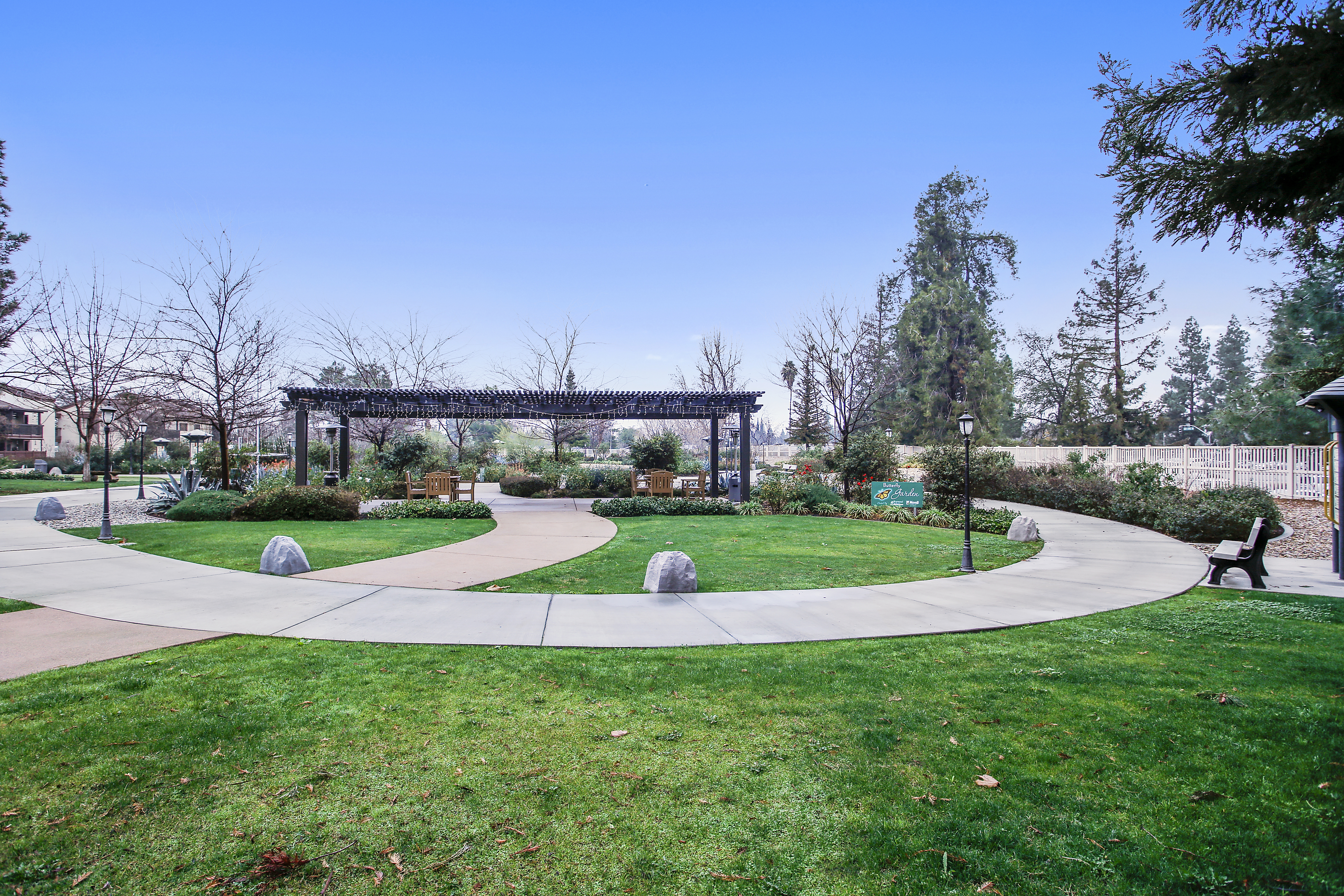 pergola, walking path, butterfly garden