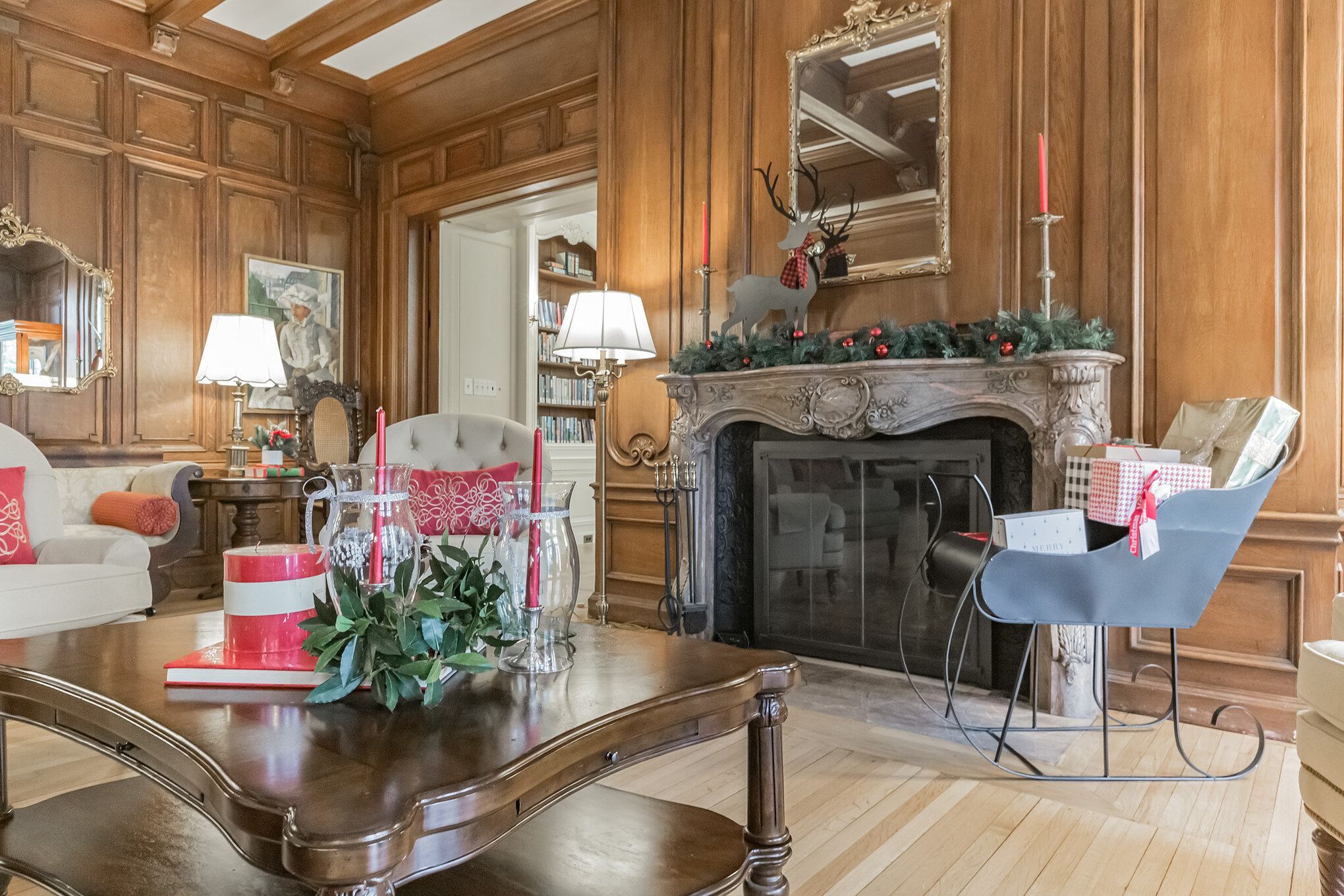 Holiday fireplace at The Mansion at Rosemont