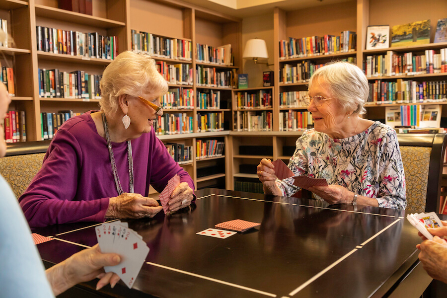 Windsor - residents playing cards in library