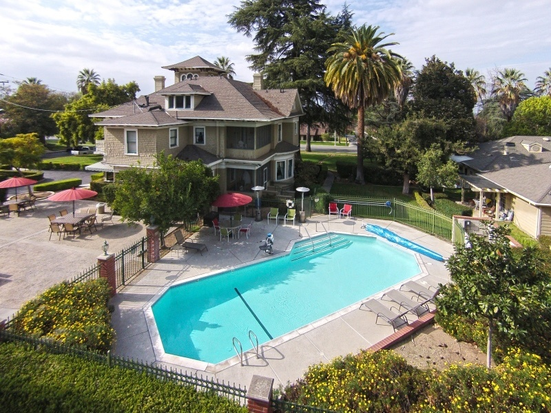 Kendall House pool, overhead shot