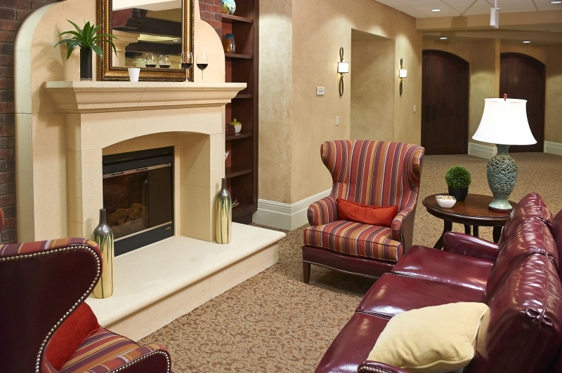 fireplace with leather couch
