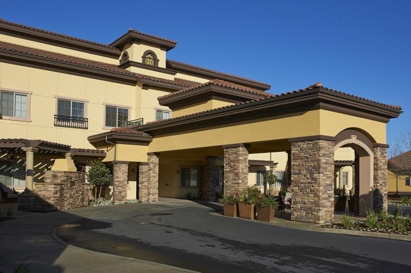 exterior, main building entrance, side view