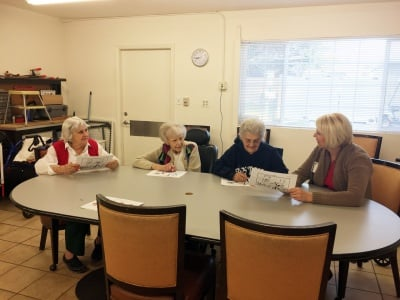 Zada Mitchell, Wilma Regehr and Cora Scranton (left to right) in a Brain Fit class led by Wendy Burnett.