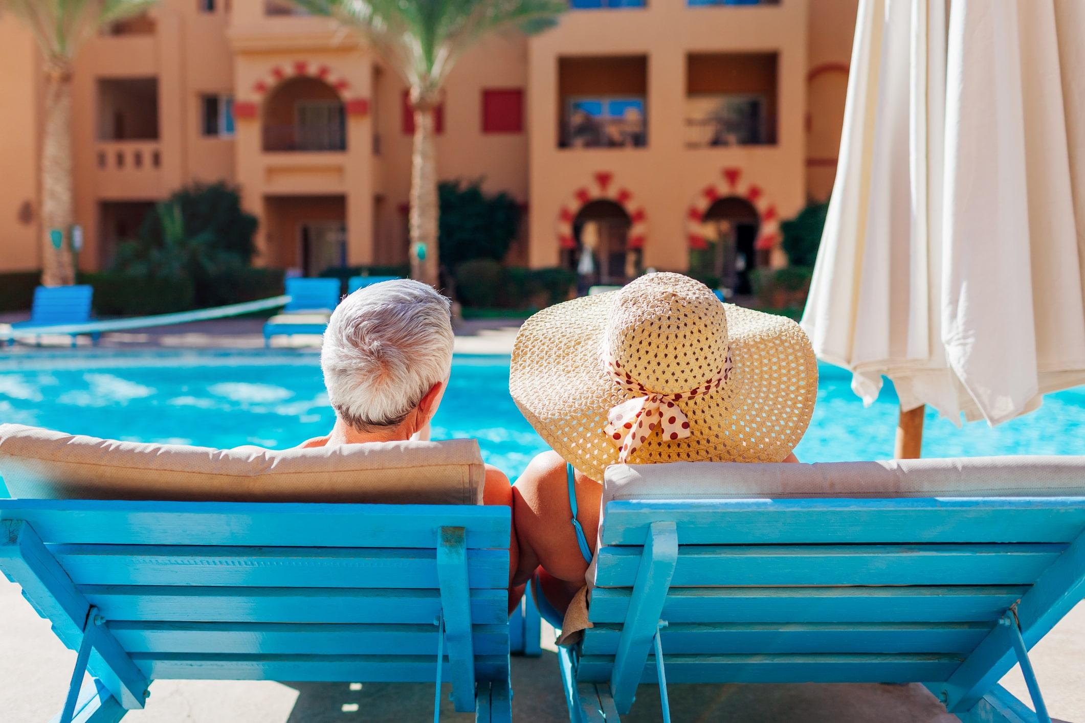 Senior couple at the pool
