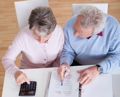 Senior couple doing finances