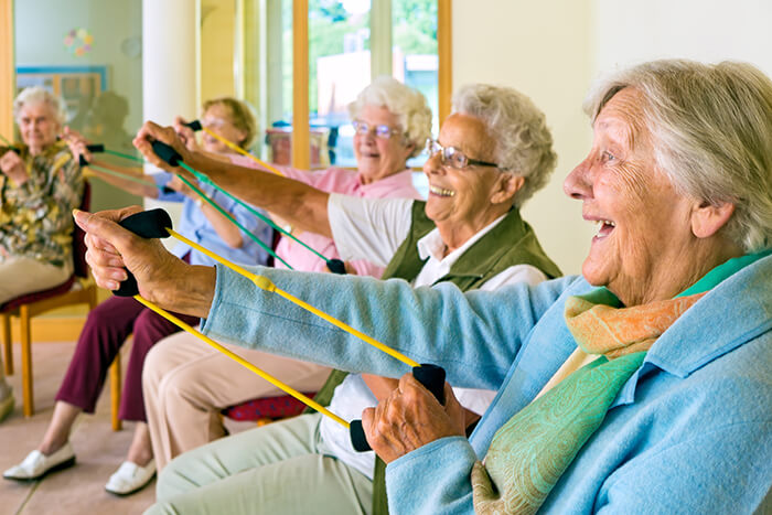 Fall prevention exercises for seniors in senior living communities